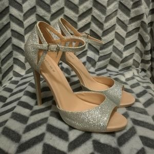 Ever New Silver Sparkly Heels